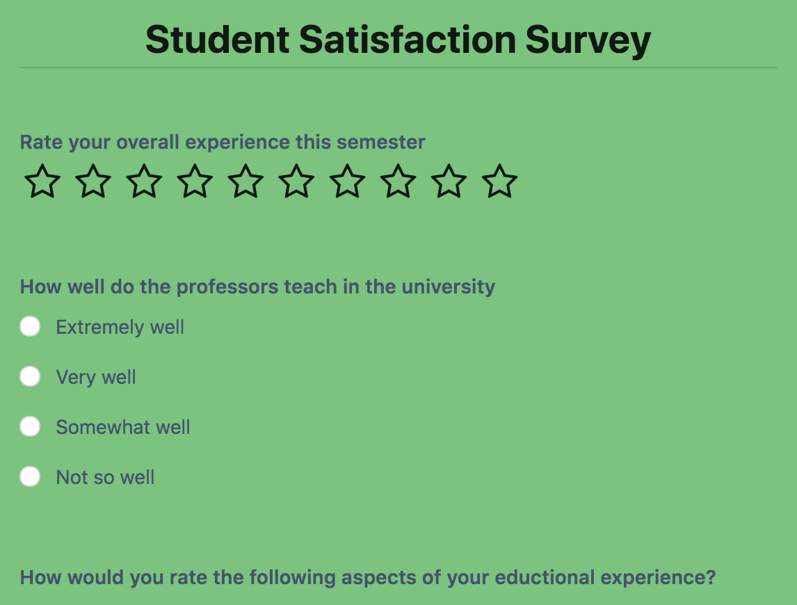 Student Satisfaction Survey